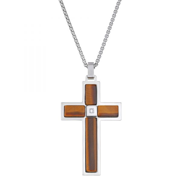 0.01 Round Cubic Zirconia Stainless Steel Simple Cross Pendant - 24 Inch Box Chain