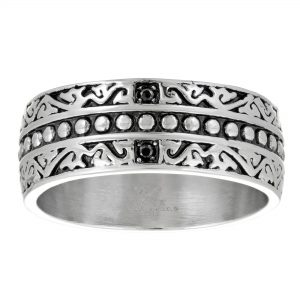Antique Ion Plated Stainless Steel Etched Design Ring with Black Cubic Zirconia - 8 MM Width - Size 10