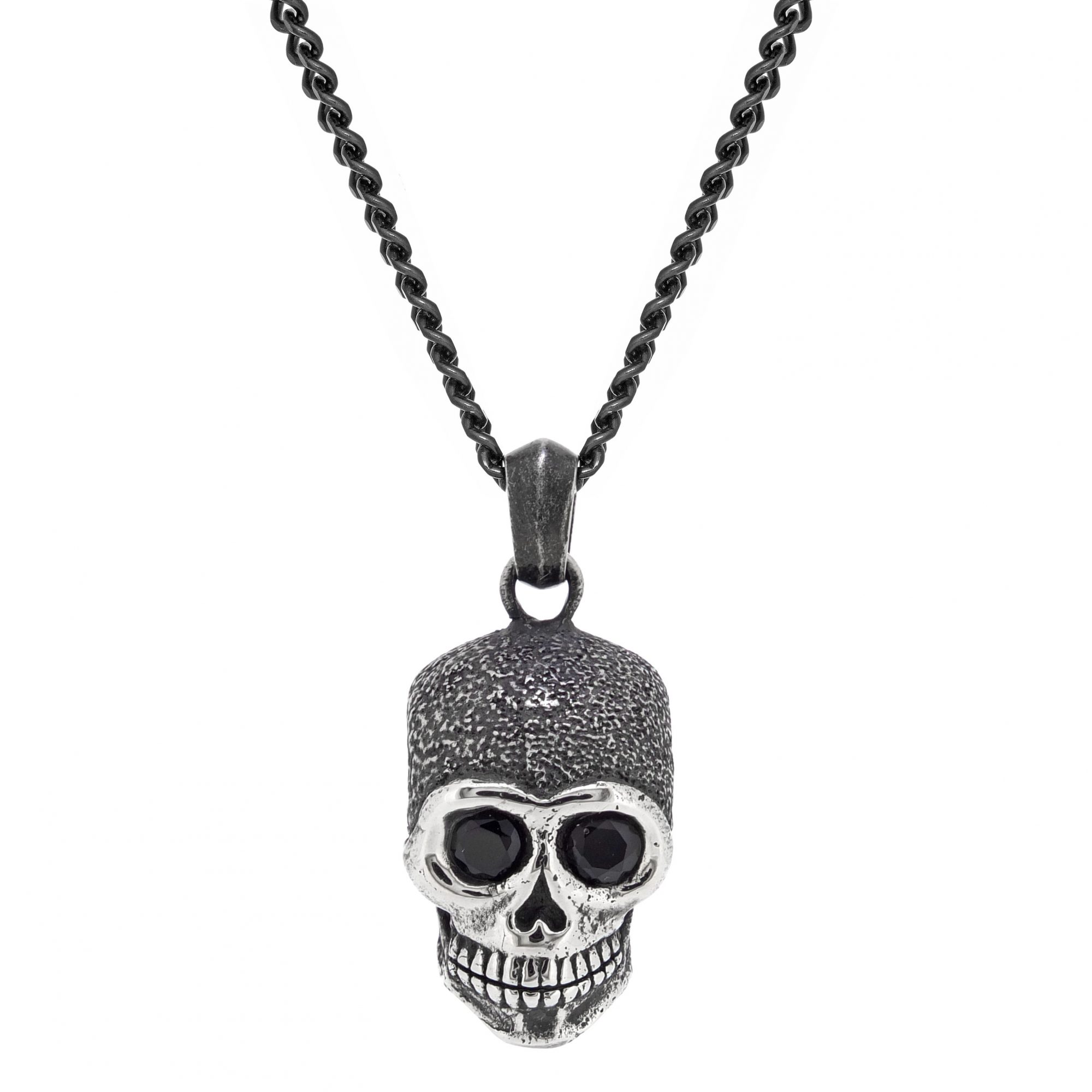 0.26 Round Black Cubic Zirconia Black Ion Plated Stainless Steel Skull Pendant Pendant - 24 Inch Box Chain