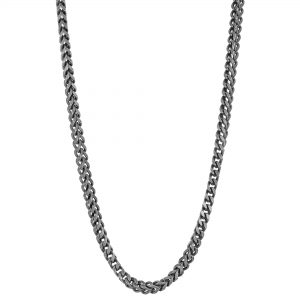 Stainless Steel Antique Ion Plated Franco Chain Necklace - 4 MM Wide, 24 Inches Length with Push Lock Clasp