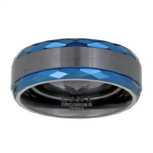 Zirconium Multi Ion Plated Double Stripe Ring - 8 MM Width - Size 10