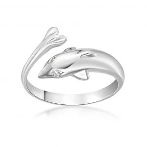 Cubic Zirconia Adjustable Dolphin Toe Ring in 10k White Gold 2 mm Wide by Lavari Jewelers