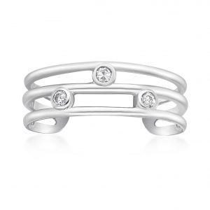 10K White Gold Cubic Zirconia Triple Band Adjustable Toe Ring