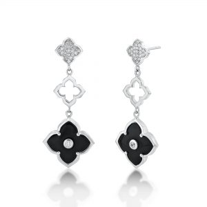 Black Onyx Three Flower Drop Dangle Earrings for Women with Cubic Zirconia in 925 Sterling Silver Friction Back by Lavari Jewelers