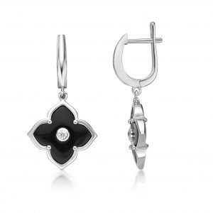 Black Onyx Flower Dangle Drop Earrings for Women with Cubic Zirconia in 925 Sterling Silver Hinged Back by Lavari Jewelers