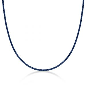 Stainless Steel Blue Acrylic Thin Round Box Chain Necklace - 3 MM Wide, 24 Inches Length with Lobster Clasp