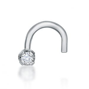 20 Gauge Curved Screw 14K White Gold .01 cttw Diamond Nose Ring