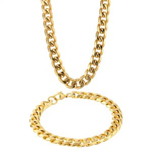 Stainless Steel Gold Ion Plated Thick Curb Boxed Set - 10 MM Wide, 22 Inches Length with Lobster Closure