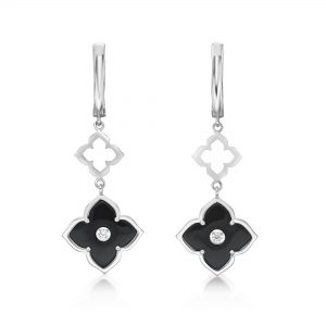 Black Onyx Flower Dangling Drop Earrings for Women in 925 Sterling Silver with Hinged Back by Lavari Jewelers