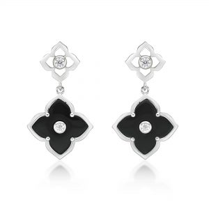 Black Onyx Flower Dangling Drop Earrings for Women in 925 Sterling Silver with Rose Gold Plating Post Back by Lavari Jewelers