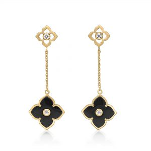 Black Onyx Flower Dangle Drop Earrings for Women in 925 Sterling Silver with Yellow Gold Plating Friction Back