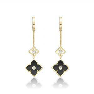 Black Onyx Flower Dangle Drop Earrings for Women in 925 Sterling Silver with Yellow Gold Plating Hinge Post