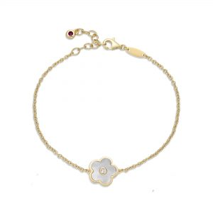 Mother of Pearl Flower Bracelet in 925 Sterling Silver with Yellow Gold Plating Adjustable Lobster Claw