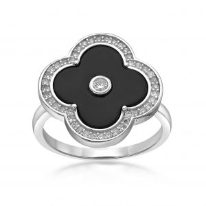 Black Onyx Flower Ring in 925 Sterling Silver with Rhodium Plating Size 6 by Lavari Jewelers