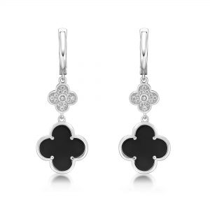 Black Onyx Flower Dangle Drop Earrings for Women in 925 Sterling Silver with Rhodium Plating Hinge Post by Lavari Jewelers