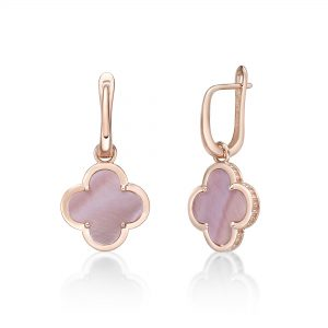 Pink Mother of Pearl Flower Drop Earrings in 925 Sterling Silver with Rose Gold Plating Hinge Post