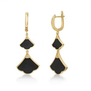 Black Onyx Dangle Drop Earrings for Women in 925 Sterling Silver with Yellow Gold Plating Hinge Post by Lavari Jewelers