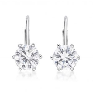 Round Cubic Zirconia Leverback Earrings - 8mm - Sterling Silver