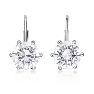 Round Cubic Zirconia Leverback Earrings - 9mm - Sterling Silver