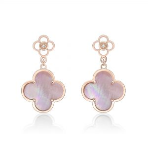 Pink Mother of Pearl and Cubic Zirconia Flower Drop Earrings in 925 Sterling Silver with Rose Gold Plating Post Back