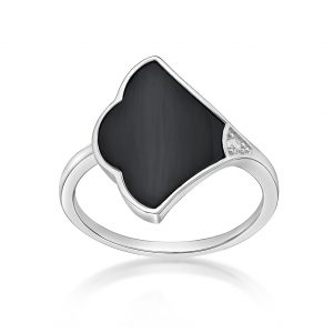 925 Sterling Silver Black Onyx Ring for Women with Rhodium Plating Size 6 by Lavari Jewelers