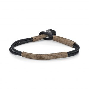 Beige Cord Wrapped Thin Smooth Dual Band Genuine Leather Bracelet - 6 MM Width, 8.5 Inches Length - Specialty Lock