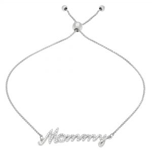 """Round Diamond 925 Sterling Silver Adjustable """"Mommy"""" Bracelet - 9 Inches"""