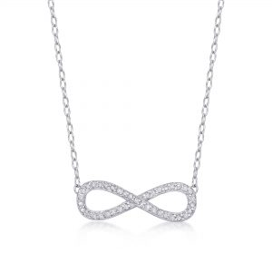 Sterling Silver 21mm Infinity 0.10cttw. Diamond Pendant Necklace - Women's Gift
