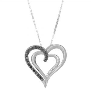 Sterling Silver 19mm Dual Hearts 0.125 cttw. Black & White Diamond Necklace