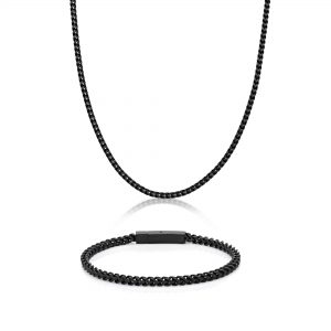 Stainless Steel Black Ion Plated Thick Foxtail Boxed Set - 10 MM Wide, 22 Inches Length with Push Button Clasp