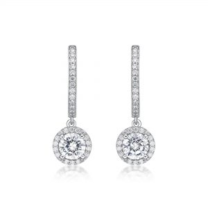 Round Cubic Zirconia Halo Hinged Back Dangle Earrings - Sterling Silver - 9mm