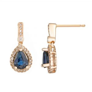 0.90 Pear Sapphire 10K Yellow Gold Vintage Earrings with 0.20 Diamonds - 6.5 MM