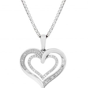 Round Diamonds 925 Sterling Silver Double Heart Pendant with Round - 18 Inch Box Chain