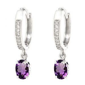 0.90 Oval Shaped Amethyst 925 Sterling Silver Dangling Earrings with 0.16 White Topaz - 4 MM
