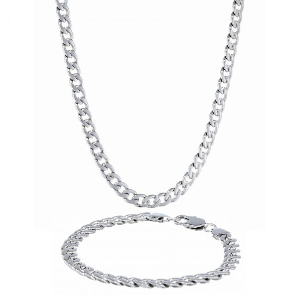 Stainless Steel Thick Curb Boxed Set - 7.5 MM Wide, 22 Inches Length with Lobster Clasp