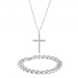 Stainless Steel Minimalist Cross Pendant with Thick Curb Boxed Set - 11 MM Wide, 9 Inches Length with Fold Over Lock