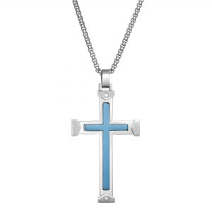 0.03 Round Diamond Blue Ion Plated Stainless Steel Inlay Cross Pendant - 24 Inch Box Chain