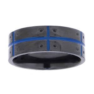 Zirconium Black Ion Plated Plated Pattern Ring - 8 MM Width - Size 10
