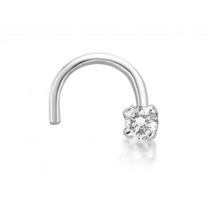 20 Gauge Curved Screw 14K White Gold .01 cttw Genuine Diamond Nose Ring