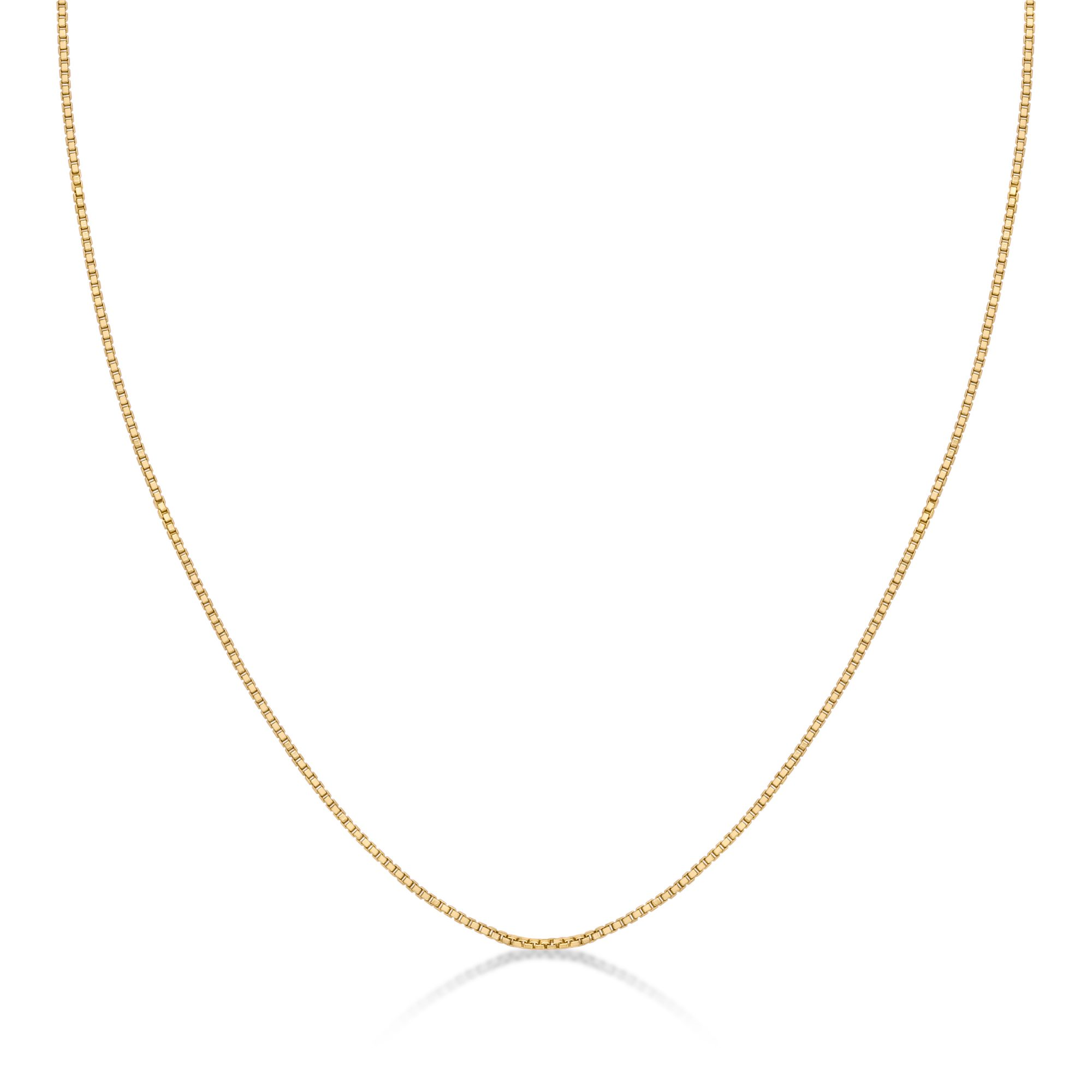 925 Yellow Sterling Silver Replacement 0.6 MM Box Chain - 18 inch with Spring Ring Clasp
